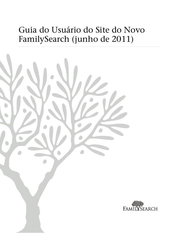 Guia do Usuário do Site do NovoFamilySearch (junho de 2011)