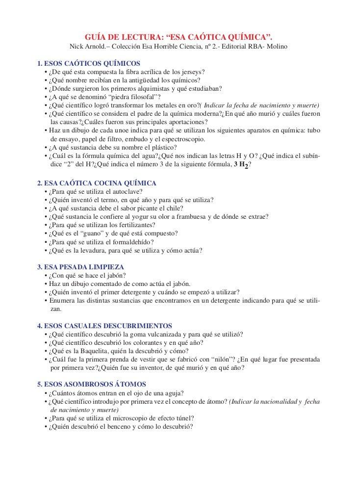 "GUÍA DE LECTURA: ""ESA CAÓTICA QUÍMICA"".            Nick Arnold.– Colección Esa Horrible Ciencia, nº 2.- Editorial RBA- Mol..."