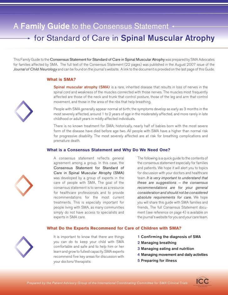 A Family Guide to the Consensus Statement      for Standard of Care in Spinal Muscular Atrophy  This Family Guide to the C...