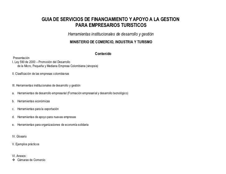 GUIA DE SERVICIOS DE FINANCIAMIENTO Y APOYO A LA GESTION                                      PARA EMPRESARIOS TURISTICOS ...