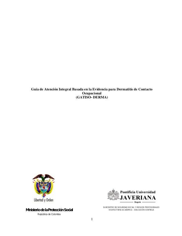 Guía de Atención Integral Basada en la Evidencia para Dermatitis de Contacto                                  Ocupacional ...
