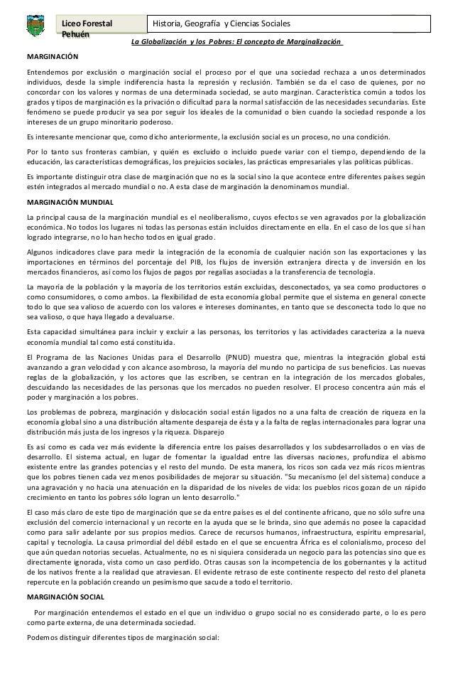 Liceo Forestal Pehuén  Historia, Geografía y Ciencias Sociales  4°  La Globalización y los Pobres: El concepto de Marginal...