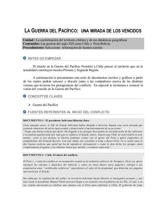 LA GUERRA DEL PACÍFICO: UNA MIRADA DE LOS VENCIDOS Unidad : La conformación del territorio chileno y de sus dinámicas geog...