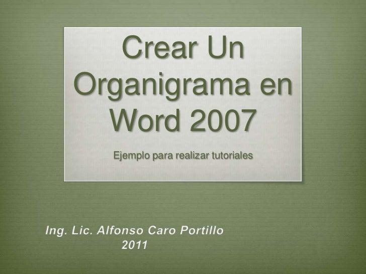 Crear UnOrganigrama en  Word 2007  Ejemplo para realizar tutoriales