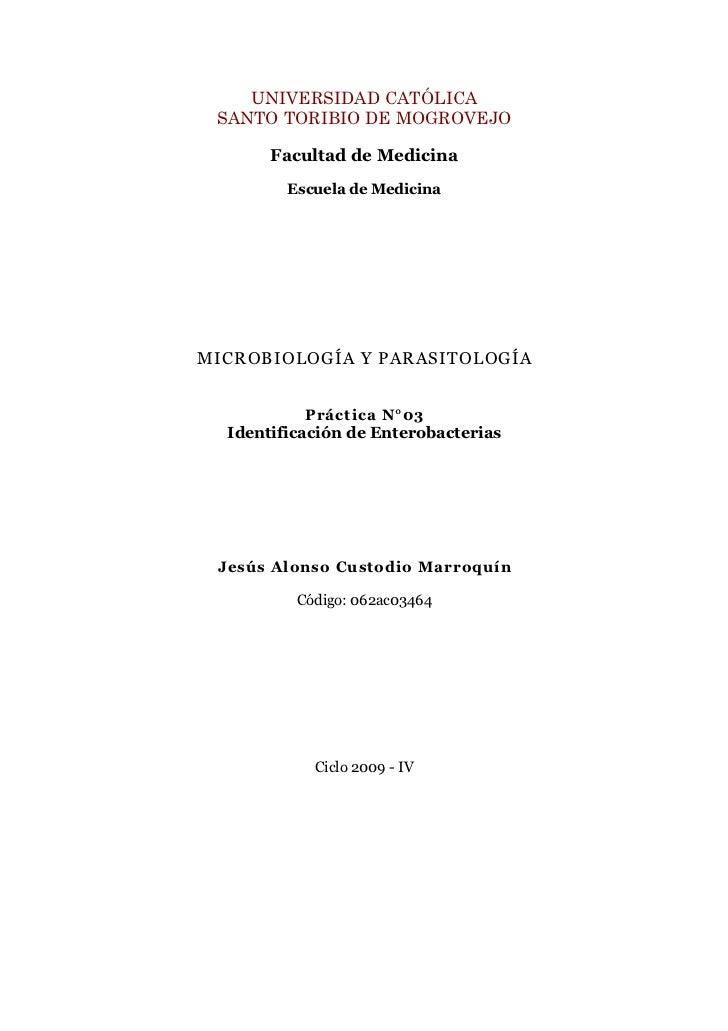 Guía III: Identificación de Enterobacterias