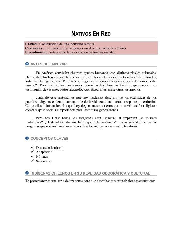 NNATIVOSATIVOS EENN RREDED Unidad : Construcción de una identidad mestiza Contenidos: Los pueblos pre-hispánicos en el act...