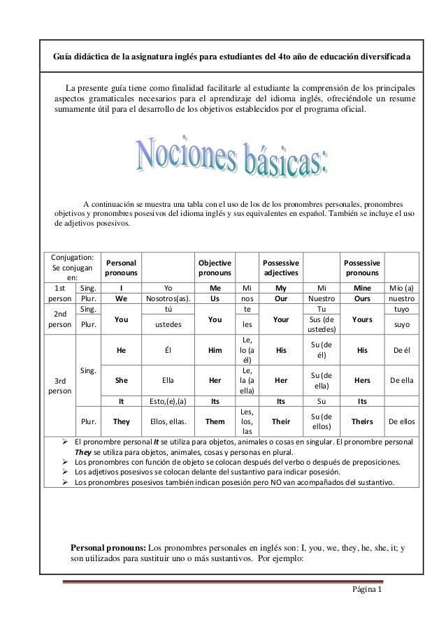 Página 1 Guía didáctica de la asignatura inglés para estudiantes del 4to año de educación diversificada La presente guía t...