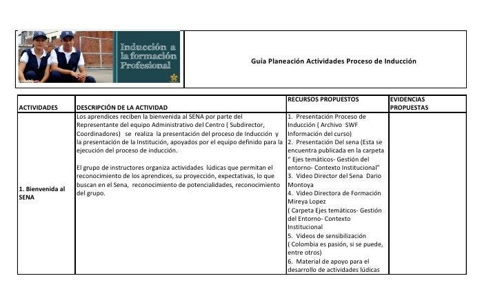 Guía Planeación Actividades Proceso de Inducción                                                                          ...