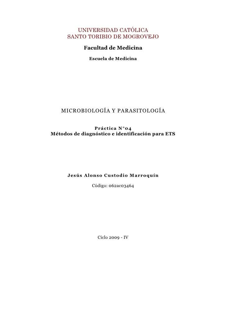 Guia IV: Métodos de diagnóstico e identificación para ETS