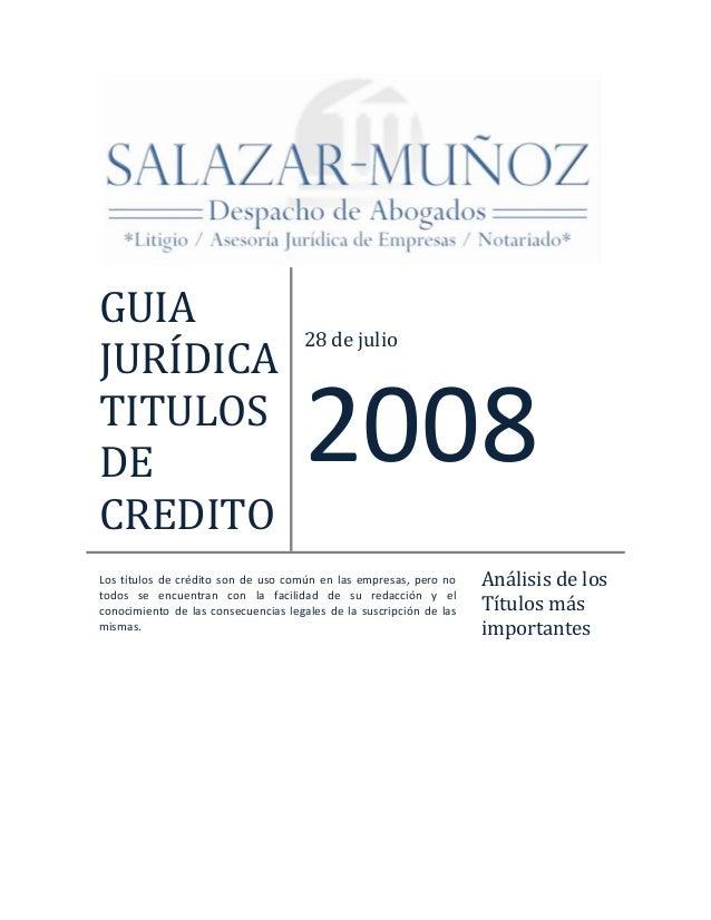 Guia juridica titulos de credito