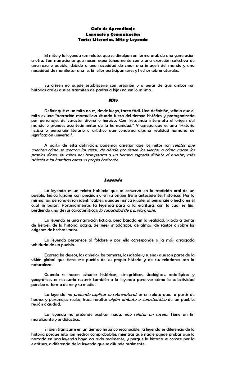 Guía de Aprendizaje                             Lenguaje y Comunicación                          Textos Literarios, Mito y...