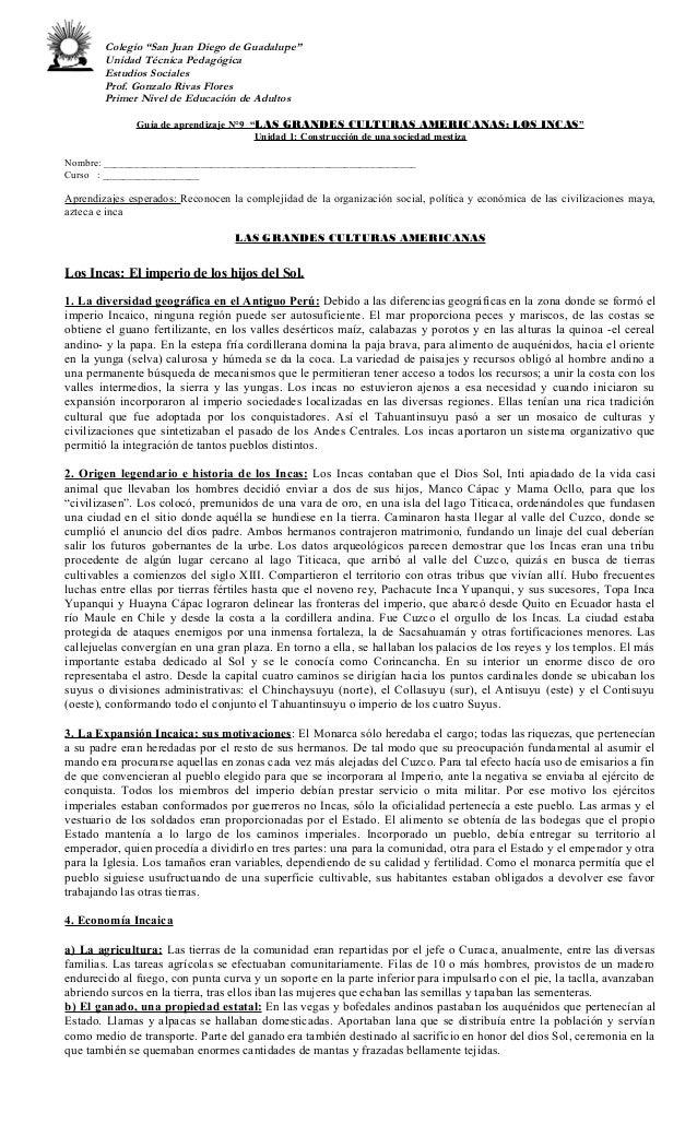 """Colegio """"San Juan Diego de Guadalupe"""" Unidad Técnica Pedagógica Estudios Sociales Prof. Gonzalo Rivas Flores Primer Nivel ..."""