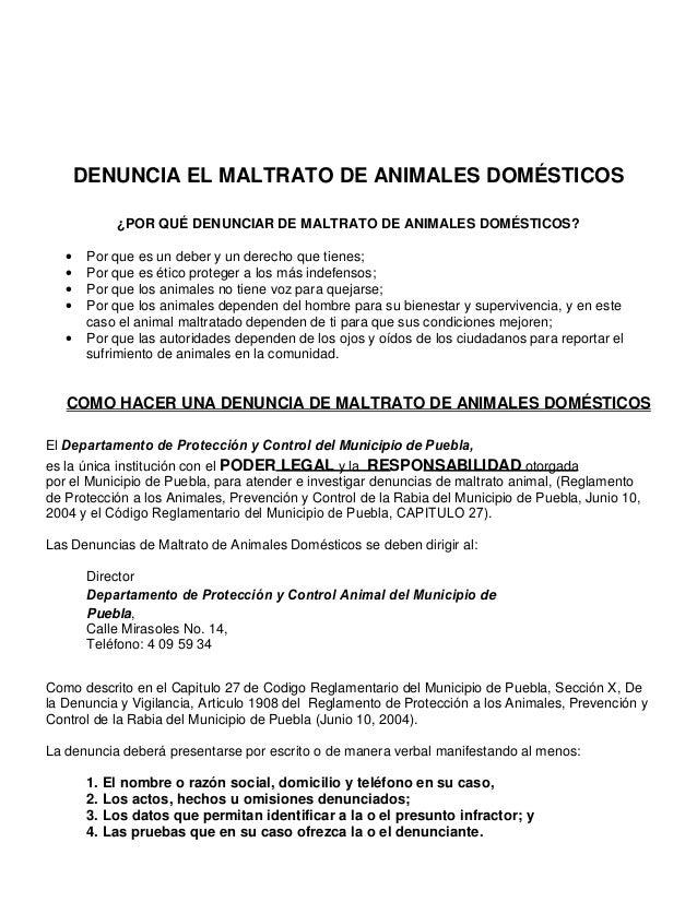 DENUNCIA EL MALTRATO DE ANIMALES DOMÉSTICOS ¿POR QUÉ DENUNCIAR DE MALTRATO DE ANIMALES DOMÉSTICOS? • Por que es un deber y...