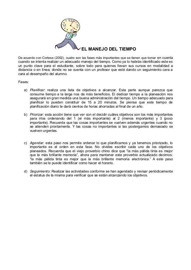 EL MANEJO DEL TIEMPO De acuerdo con Cortese (2002), cuatro son las fases más importantes que se tienen que tomar en cuenta...