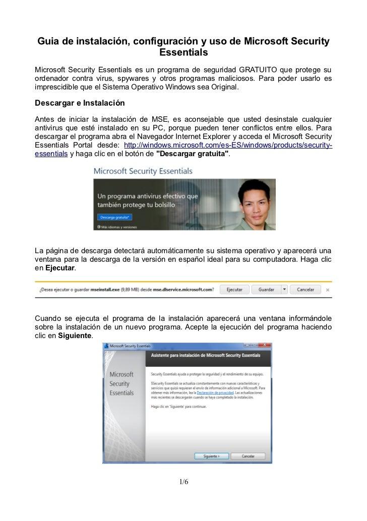 Guia de Instalación, Configuración y uso de Microsoft Security Essentials