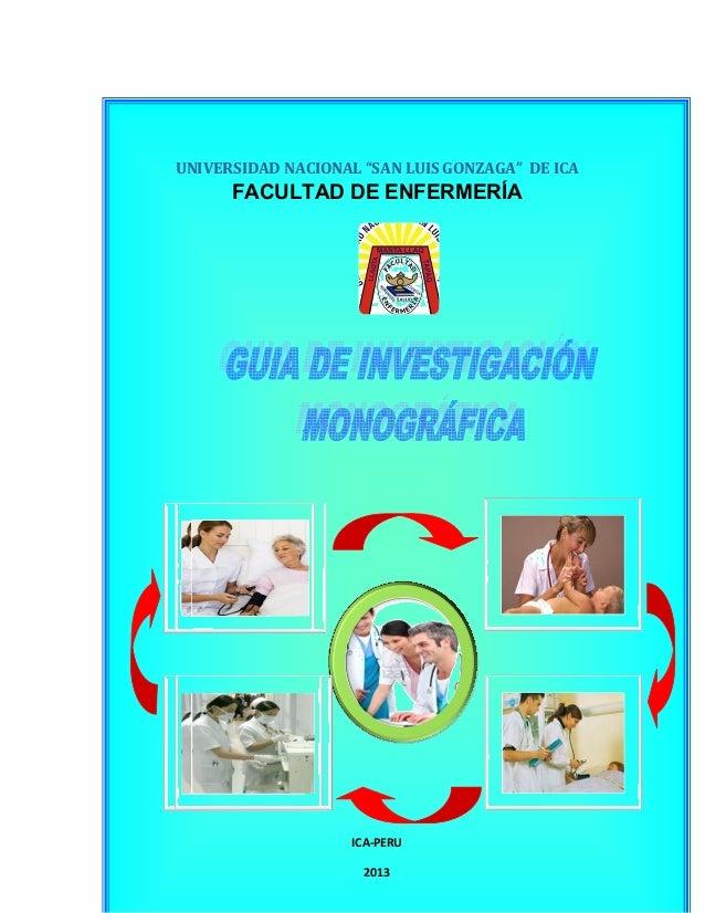 """-1- UNIVERSIDAD NACIONAL """"SAN LUIS GONZAGA"""" DE ICA FACULTAD DE ENFERMERÍA ICA-PERU 2013"""