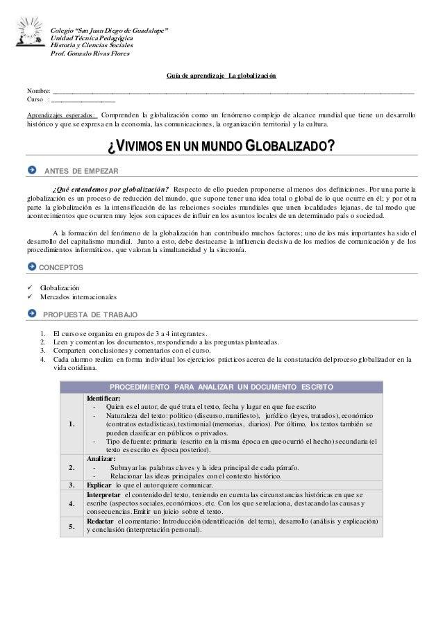 """Colegio""""San Juan Diegode Guadalupe"""" Unidad Técnica Pedagógica Historia y Ciencias Sociales Prof. Gonzalo Rivas Flores Guía..."""
