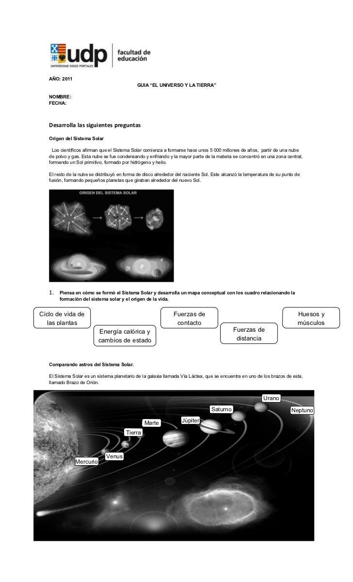 """AÑO: 2011                                             GUIA """"EL UNIVERSO Y LA TIERRA""""   NOMBRE:   FECHA:   Desarrolla las s..."""