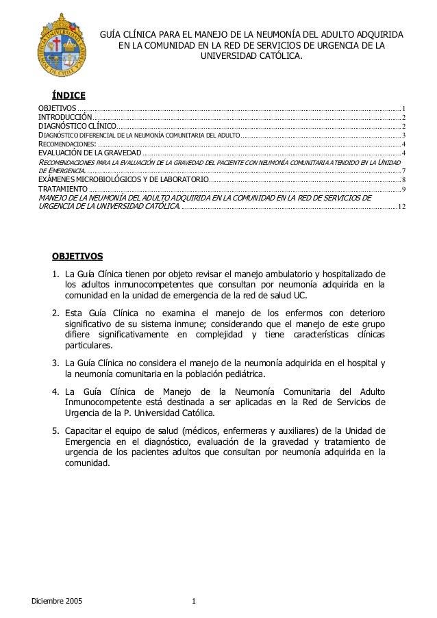 GUÍA CLÍNICA PARA EL MANEJO DE LA NEUMONÍA DEL ADULTO ADQUIRIDA                                     EN LA COMUNIDAD EN LA ...