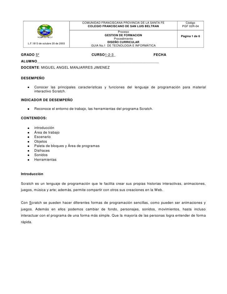 COMUNIDAD FRANCISCANA PROVINCIA DE LA SANTA FE             Código                                        COLEGIO FRANCISCA...