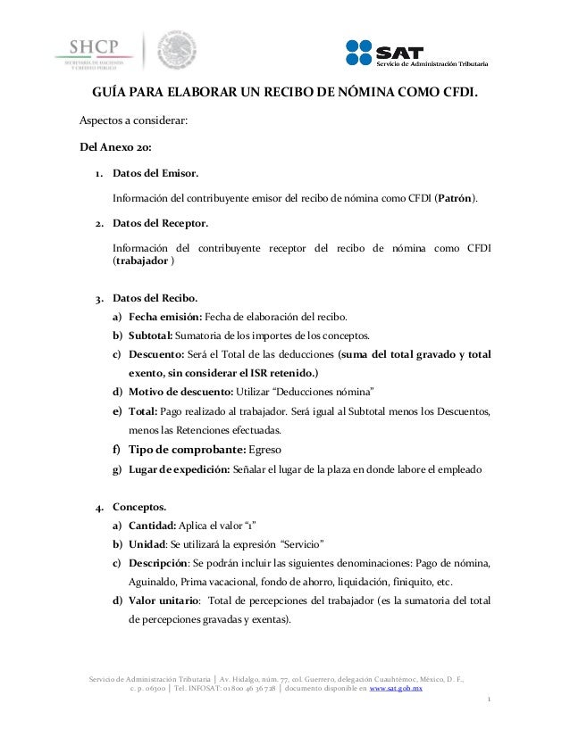 Guia para elaborar recibos Nomina CFDI 2014 (SAT)