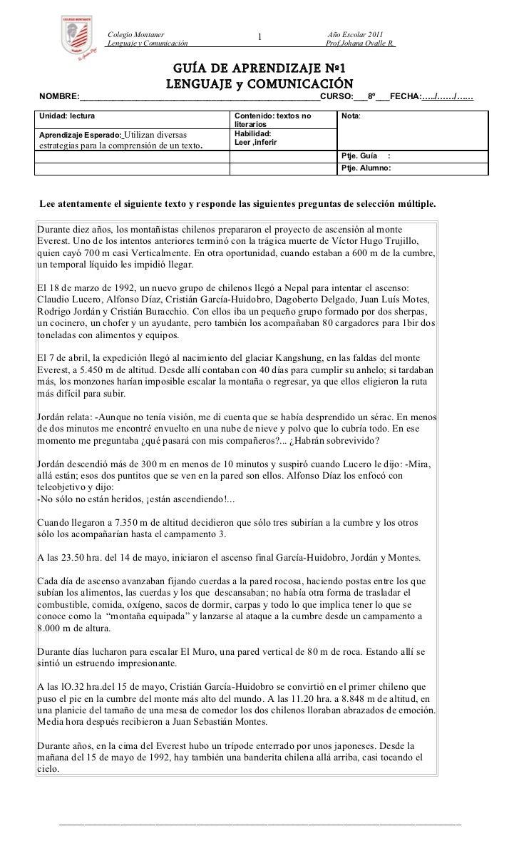 Colegio Montaner                    1                 Año Escolar 2011                  Lenguaje y Comunicación           ...
