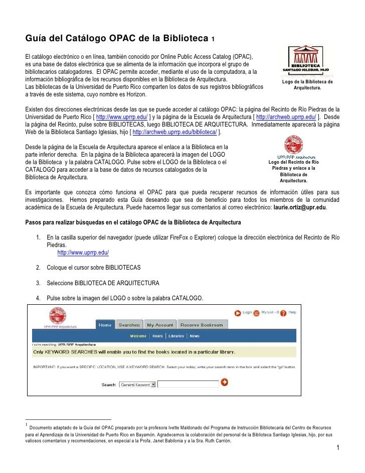 Logo de la Biblioteca de Arquitectura.Guía del Catálogo OPAC de la Biblioteca El catálogo electrónico o en línea, también ...