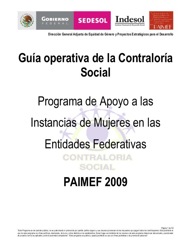 Dirección General Adjunta de Equidad de Género y Proyectos Estratégicos para el Desarrollo  Guía operativa de la Contralor...