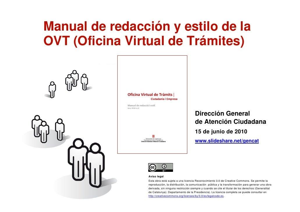 Manual de redacción y estilo de la     OVT (Oficina Virtual de Trámites)                                                  ...