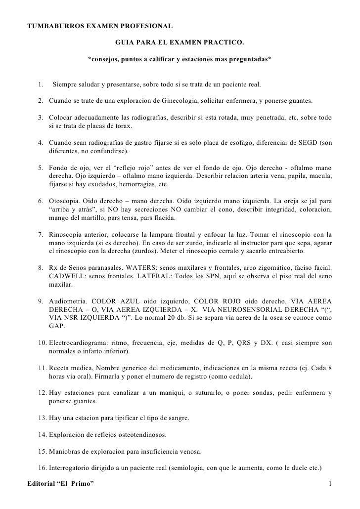 TUMBABURROS EXAMEN PROFESIONAL                                GUIA PARA EL EXAMEN PRACTICO.                      *consejos...