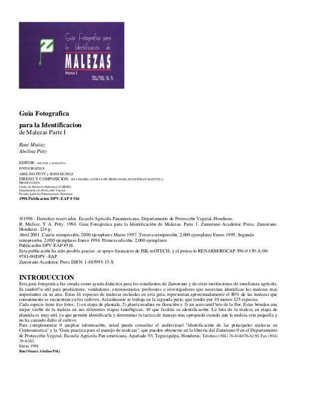 Guia Fotografica para la Identificacion de Malezas Parte I Rani Muiiaz Abelina Pitty EDITOR: HECTOR A. BARLETTA FOTOGRAFIA...