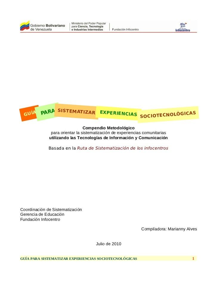 Guia para sistematizar experiencias sociotecnológicas