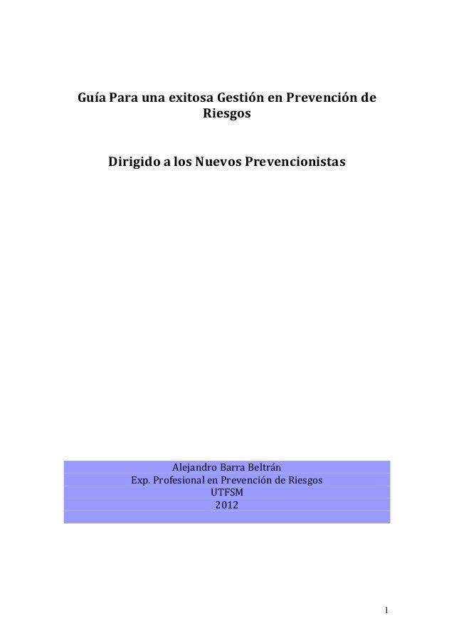 1  Guía Para una exitosa Gestión en Prevención de Riesgos Dirigido a los Nuevos Prevencionistas Alejandro Barra Beltrán Ex...