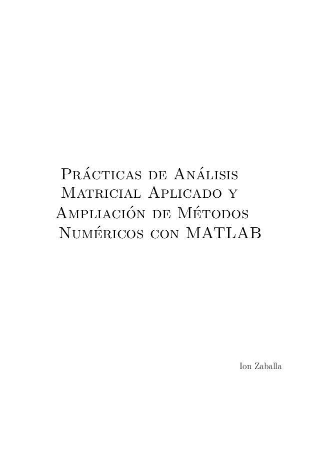 Pr´acticas de An´alisis Matricial Aplicado y Ampliaci´on de M´etodos Num´ericos con MATLAB Ion Zaballa