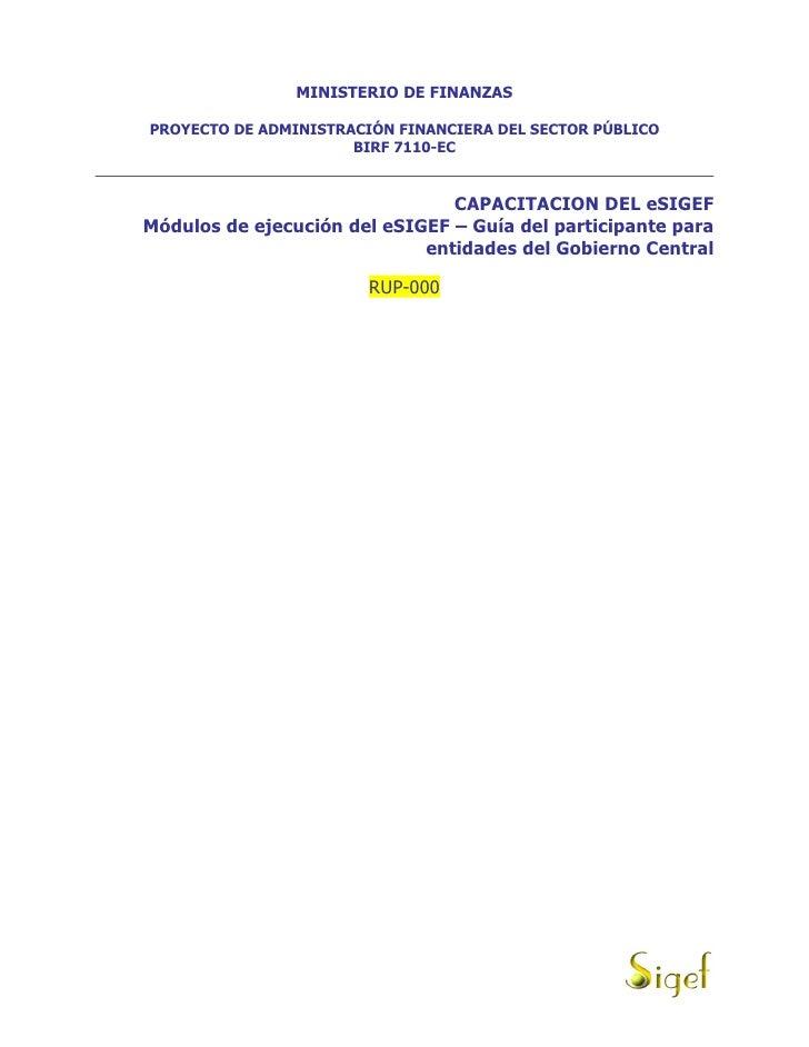 MINISTERIO DE FINANZAS  PROYECTO DE ADMINISTRACIÓN FINANCIERA DEL SECTOR PÚBLICO                       BIRF 7110-EC       ...
