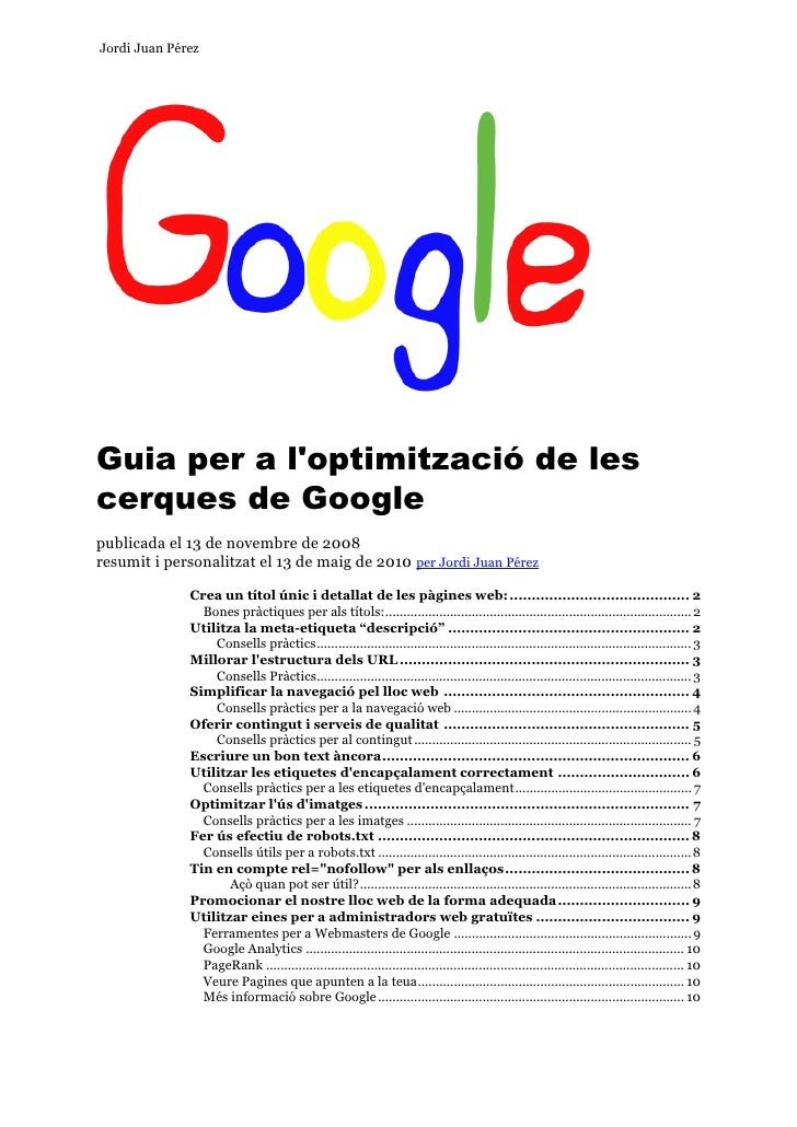 Guia per a l'optimitzacio de les cerques de google