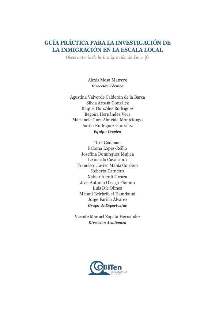 GUÍA PRÁCTICA PARA LA INVESTIGACIÓN DE  LA INMIGRACIÓN EN LA ESCALA LOCAL      Observatorio de la Inmigración de Tenerife ...