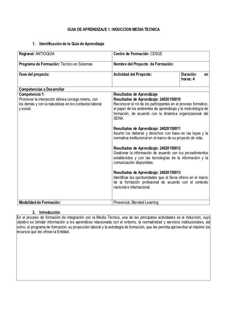 GUIA DE APRENDIZAJE 1. INDUCCION MEDIA TECNICA          1. Identificación de la Guía de Aprendizaje Regional: ANTIOQUIA   ...