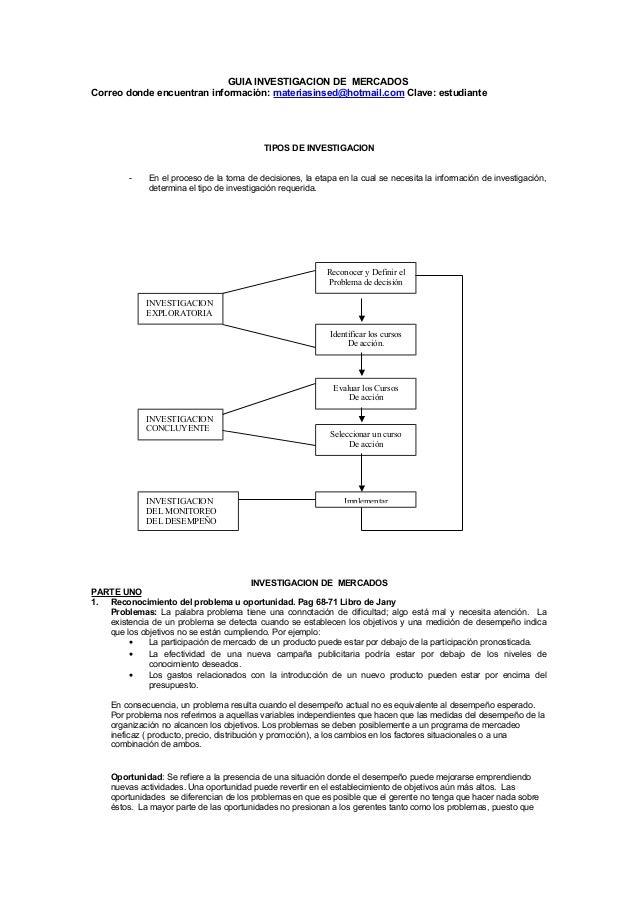 GUIA INVESTIGACION DE MERCADOSCorreo donde encuentran información: materiasinsed@hotmail.com Clave: estudianteTIPOS DE INV...