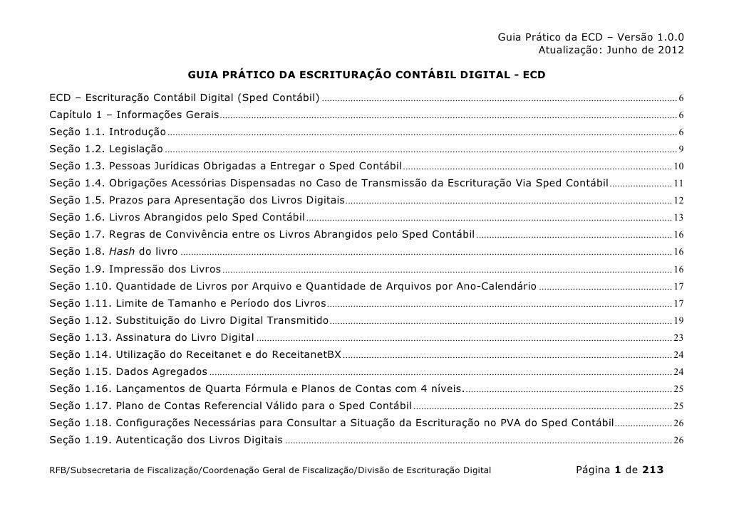 SPED CONTÁBIL - ECD | GUIA PRÁTICO v1