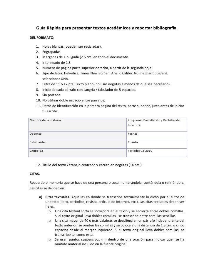 Guía rápida de bibliografía y textos