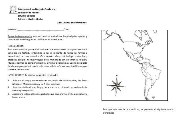 Colegio san Juna Diego de Guadalupe Educación de Adultos Estudios Sociales Primeros Niveles Medios Las Culturas precolombi...