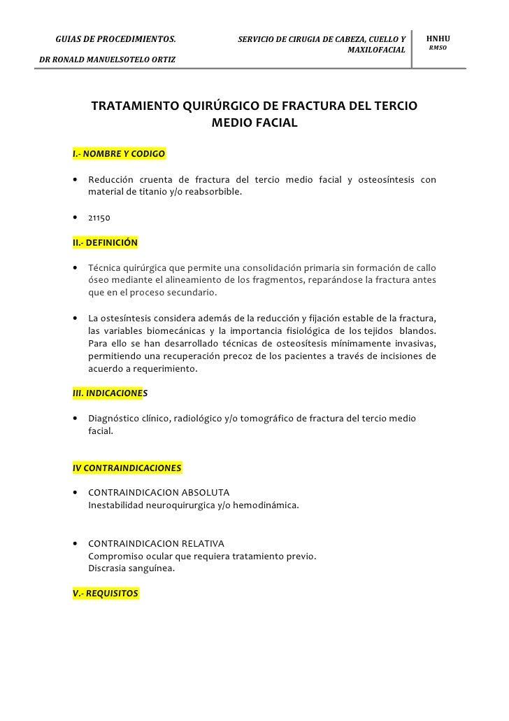 GUIAS DE PROCEDIMIENTOS.                  SERVICIO DE CIRUGIA DE CABEZA, CUELLO Y      HNHU                               ...