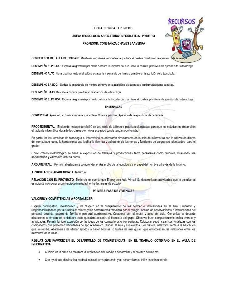 FICHA TECNICA III PERIODO                                    AREA: TECNOLOGIA ASIGNATURA: INFORMATICA PRIMERO             ...