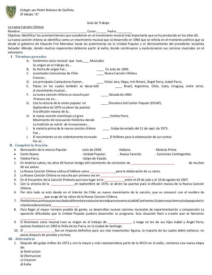 """Colegio san Pedro Nolasco de Quillota.        3º Medio """"A""""                                                           Guía ..."""