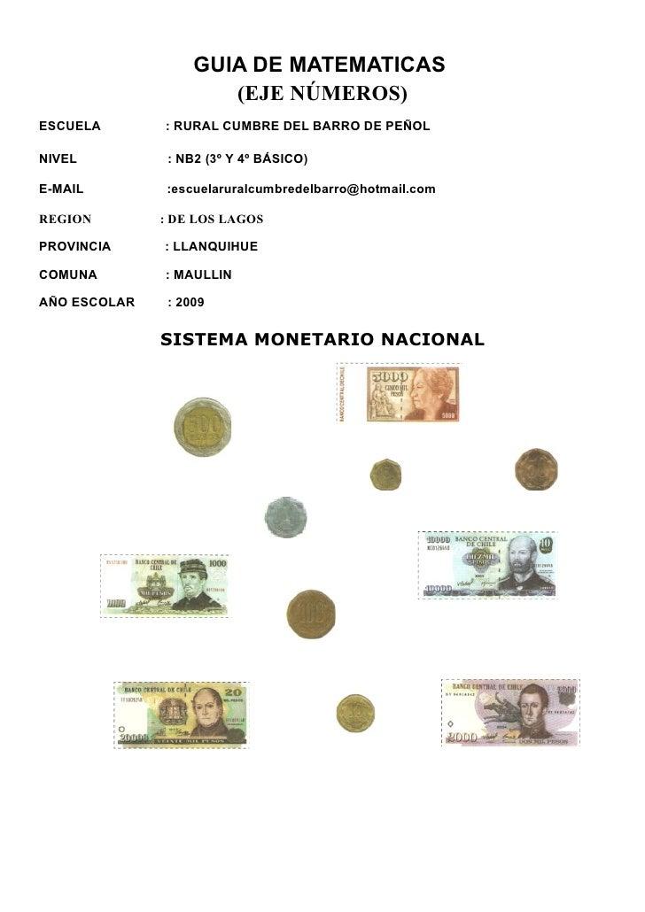 GUIA DE MATEMATICAS                      (EJE NÚMEROS)ESCUELA       : RURAL CUMBRE DEL BARRO DE PEÑOLNIVEL          : NB2 ...