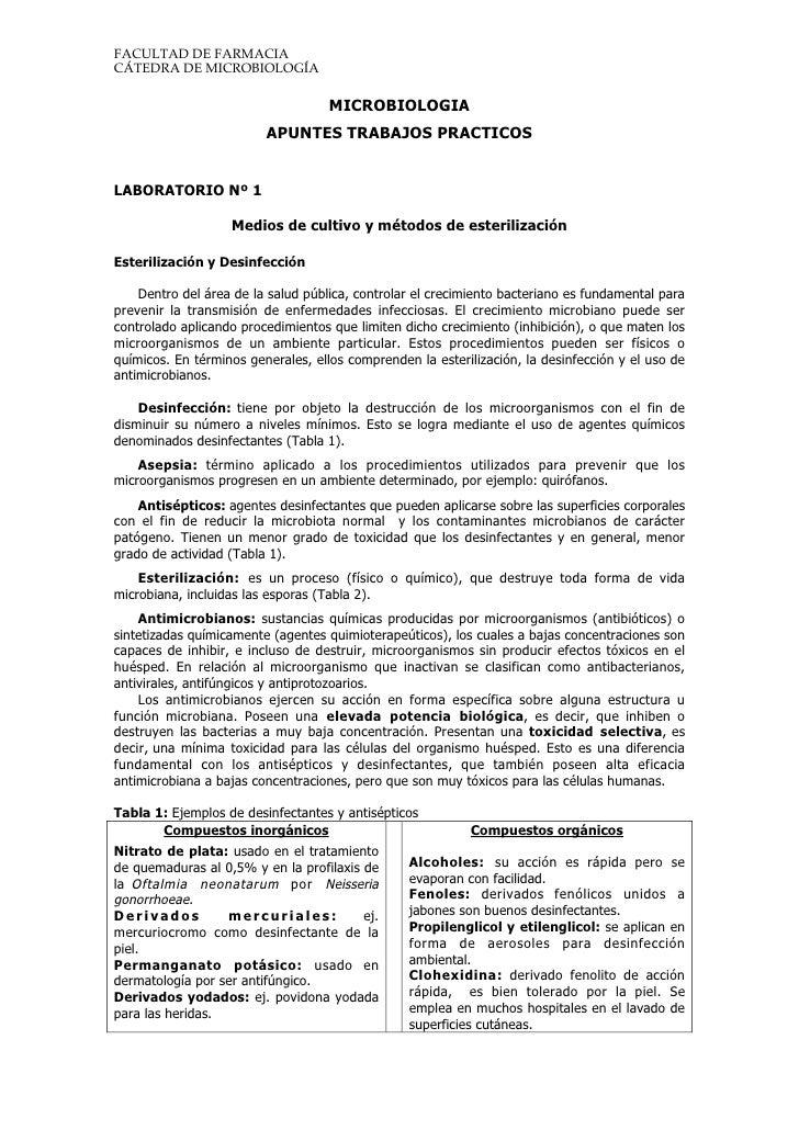 FACULTAD DE FARMACIA CÁTEDRA DE MICROBIOLOGÍA                                      MICROBIOLOGIA                          ...