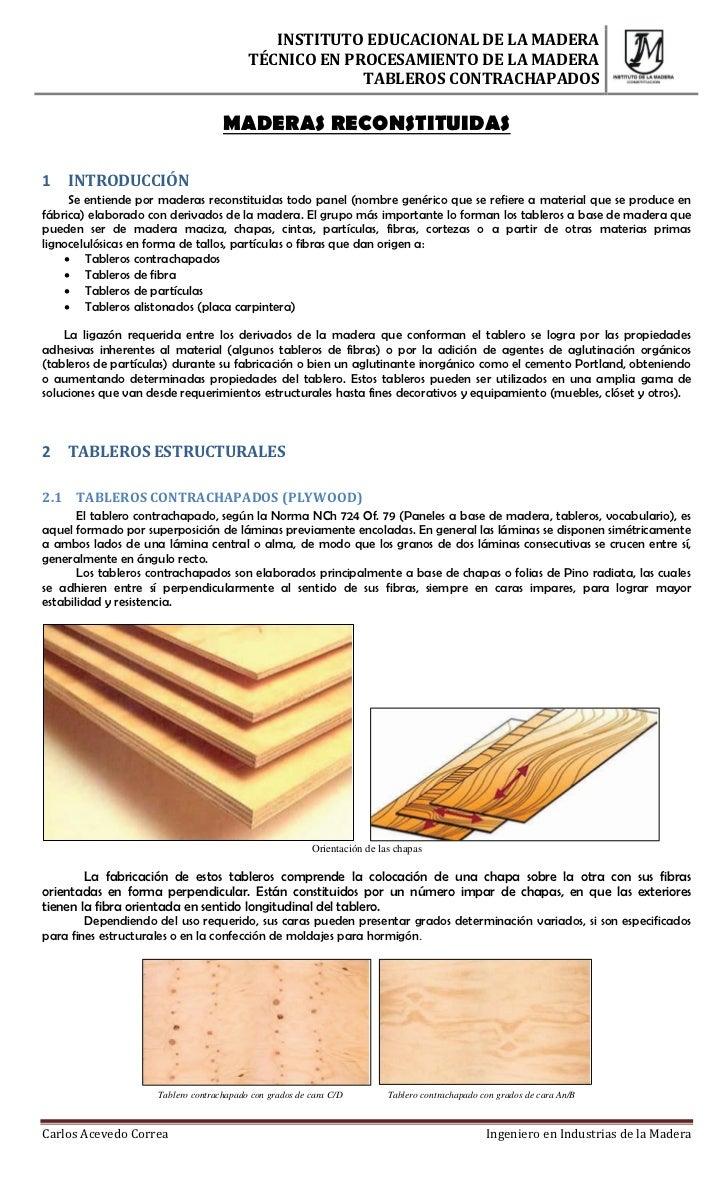 INSTITUTO EDUCACIONAL DE LA MADERA                                          TÉCNICO EN PROCESAMIENTO DE LA MADERA         ...