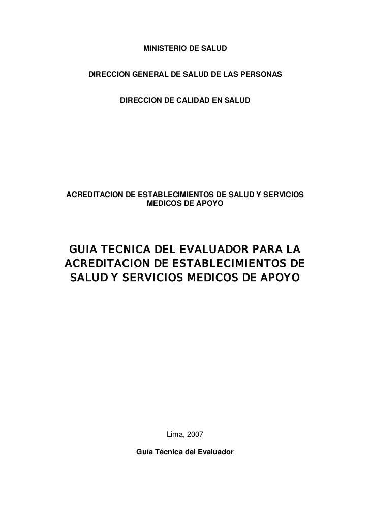 MINISTERIO DE SALUD    DIRECCION GENERAL DE SALUD DE LAS PERSONAS            DIRECCION DE CALIDAD EN SALUDACREDITACION DE ...