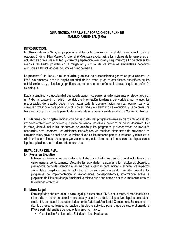 GUIA TECNICA PARA LA ELABORACION DEL PLAN DE                               MANEJO AMBIENTAL (PMA)INTRODUCCION.El Objetivo ...
